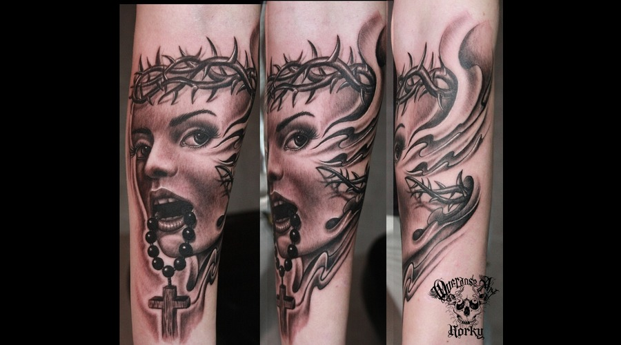 Woman Religious Cross Black Grey Arm