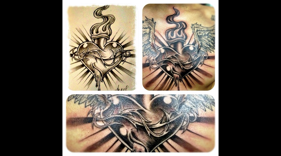 Sacred Heart  Chest Tattoo  Sun Rays  Faith  Heart Black White