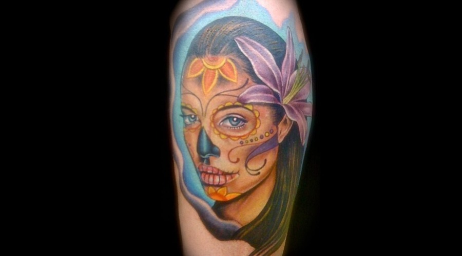 Anjelina Jolie  Color Portrait  Day Of The Dead Color