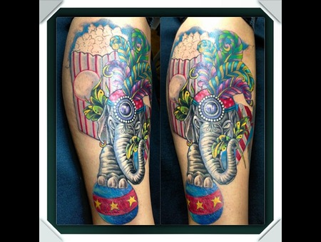 Circus Tattoo  Elephant  Popcorn Color