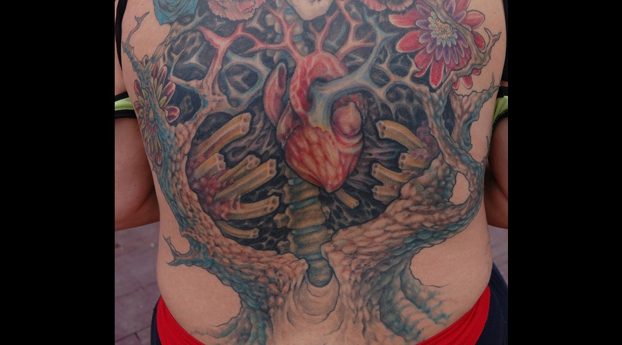 Heart  Tree  Skeleton  Flowers  Back  Color