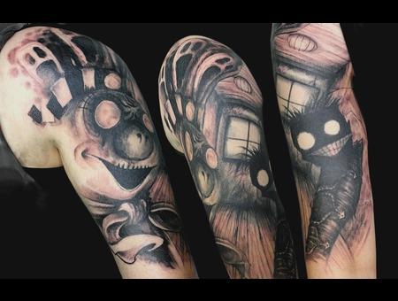 Nny  Jthm  Evil  Clown  Dark  Arm  Black White