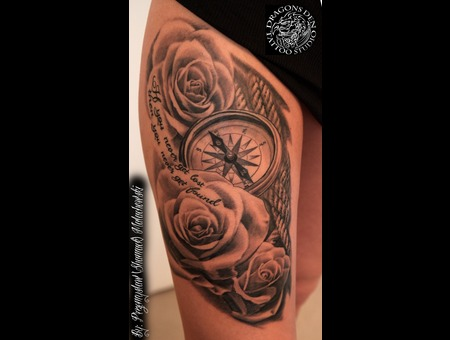 Female Roses With Compass.  Black White Thigh