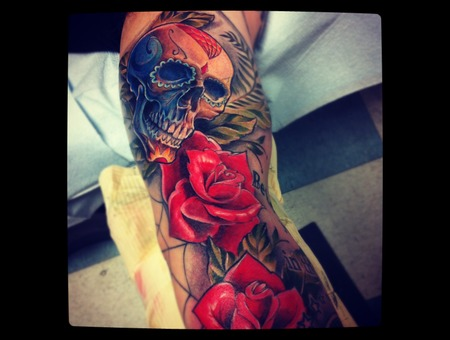 Skull And Roses Color