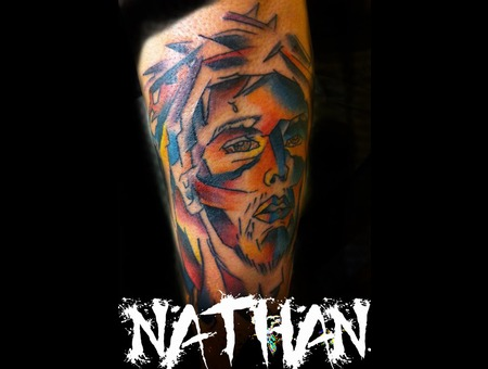 Color  Nathangalmantattooartist  Jesus Portrait Cubism Forearm Awesome Black White