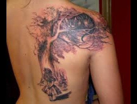 Cat In Tree Large Back Tattoo Color