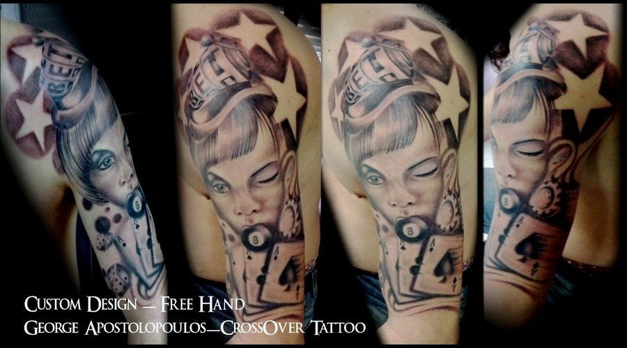 Custom  Free Hand  Gambling Tattoo  George Apostolopoulos  Greece Black White
