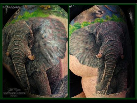 Wildlife Tattoo  Jim Ryan  Realism  Elephant Color