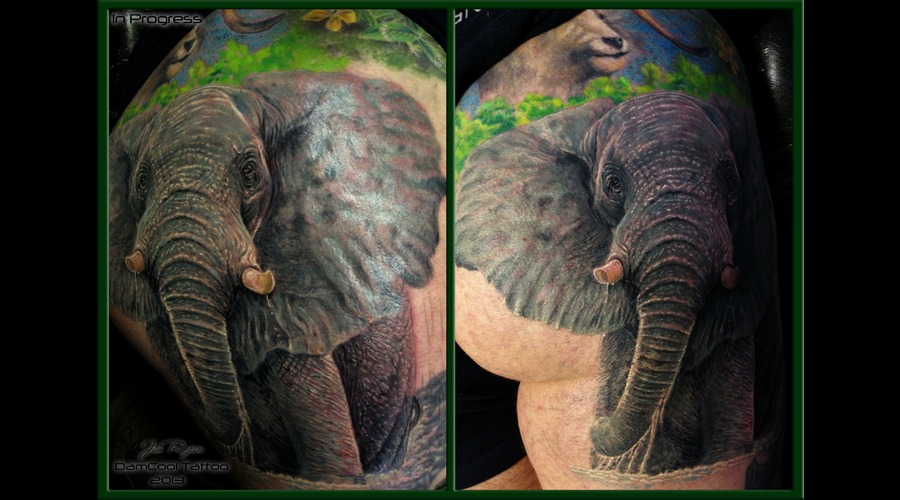 Wildlife Tattoo  Jim Ryan  Realism  Elephant Color