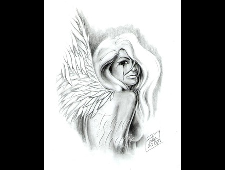 Angel Woman Sketch Flash Black White