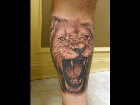 Lion  Portrait  Leg  Tattoo  Black Grey Lower Leg