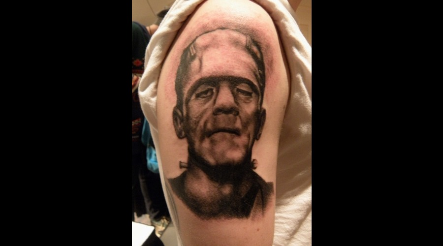Frankenstein  Portrait  Arm Black White