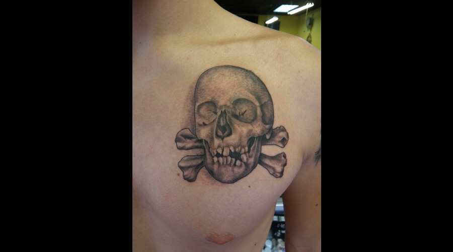 Skull  Tattoo  Chest  Black White