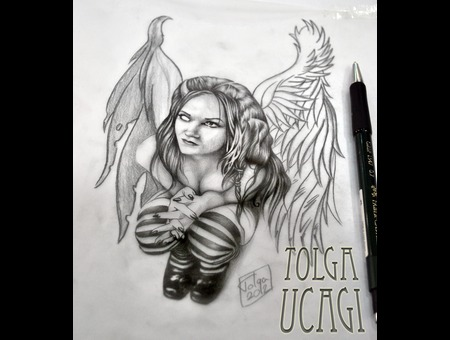 Angel Devil Good Evil Woman Sketch Flash Black White