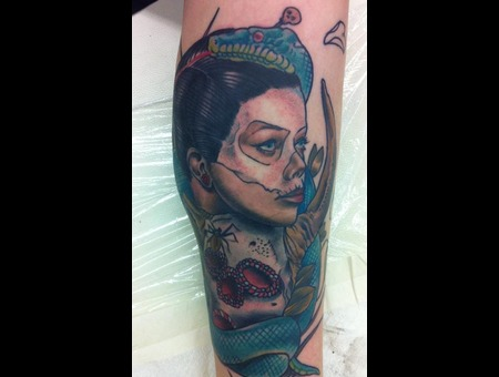 Vodoo Woman Skull  Mask  Snake Color