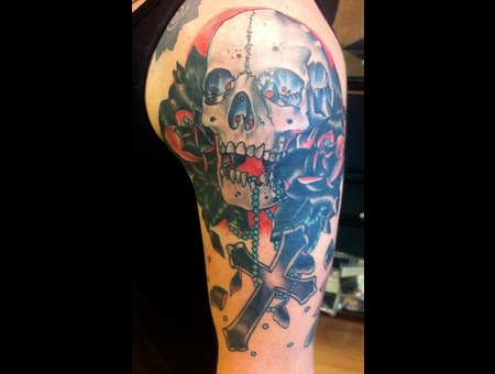 Traditional Skull Roses Cross Color