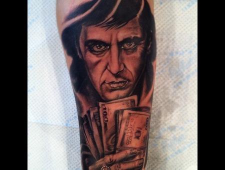 Scarface Al Pacino Portrait Black White
