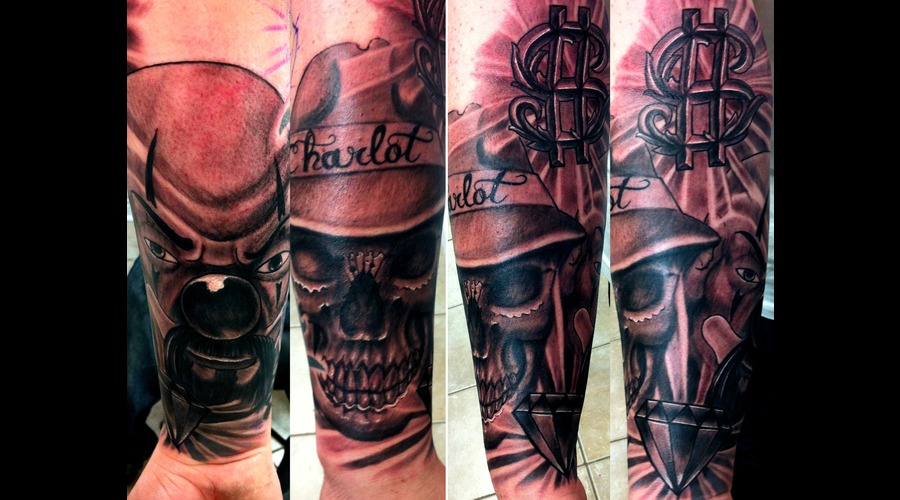 Chicano  Skull  Clown Black White