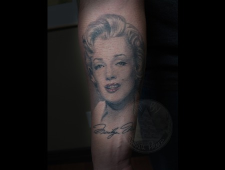Marilyn Munro Portrait Tattoo Black White
