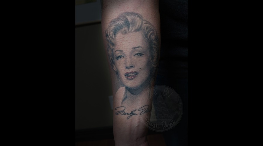 Marilyn Munro Portrait Tattoo Black White