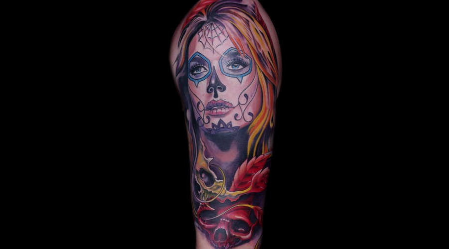 Half Sleeve  Colours  Skull  Woman  Pretty  Sugar Skull  Design  Art Color Arm