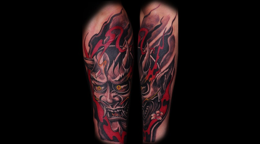 Japanese  Hannya  Mask   Color Forearm