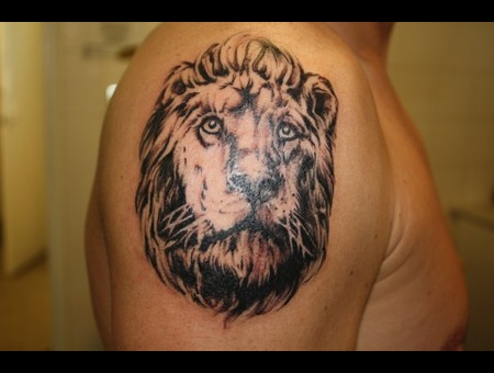 Lion Black White Arm