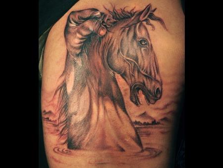 Self Restrain Horse Tattoo Black Grey Arm