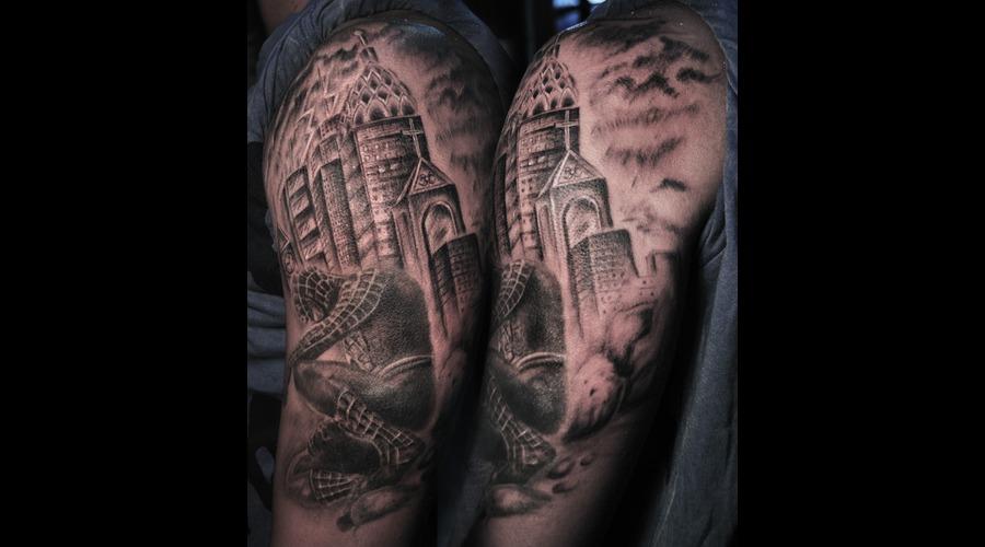 Black Spiderman Tattoo With Free Hand Background Black Grey Arm