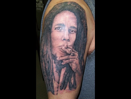 Portrait  Bob Marley Black Grey Arm