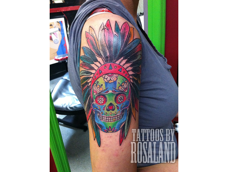 Indian  Native American  Skull  Feathers  Sugar Skull Color Arm