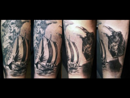 Odin  Sleeve  Huginn  Muninn  Raven  Crow  Ship  Viking  Nordic  Tattoo Black White Forearm