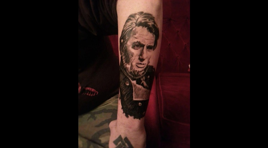 Portrait  Ahab  Moby  Tattoo  Whale  Arm  Gregory  Peck Black White Forearm