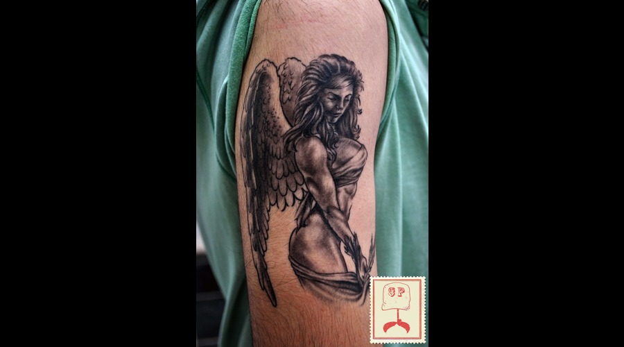 Angel Tattoo Black White