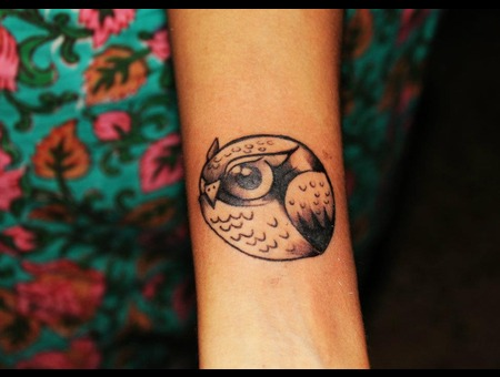 Owl  Green Soul Tattoos  Hyderabad  India Black Grey Forearm