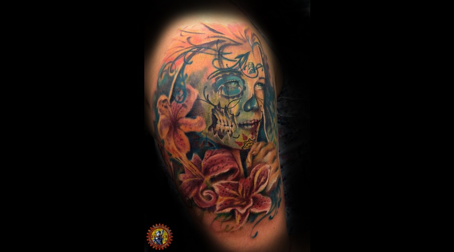 Day Of The Dead  Zombie  Floral  Memorial Color