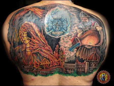 Dragon  St. Florian  Firefighter Tattoos  Painting Tattoos Color