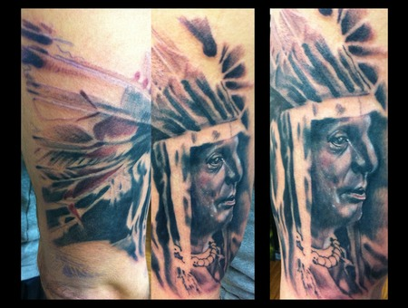 Indian Portrait Chief Feather Black Grey Arm