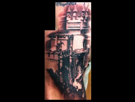 Castle Sky Cliff Ocean Meat Black Grey Arm
