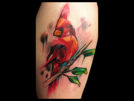 Cardinal Leaf Tree Watercolor Abstract Trash Gonzo Color Thigh