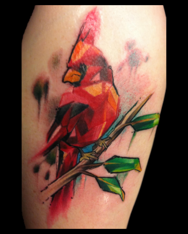 Watercolor Cardinal Tattoo: Certified Artist
