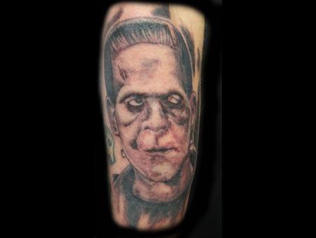 Frankenstein  Portrait  Monster Black Grey Arm