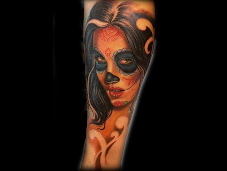 Katrina Sugar Skull  Color Lower Leg