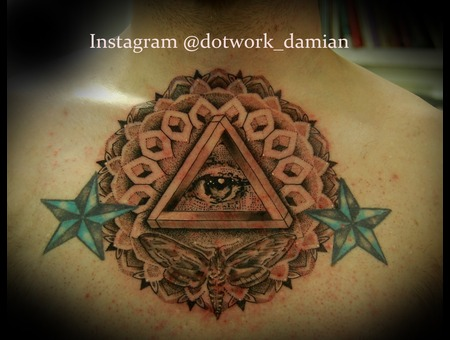 All Seeing Eye Pattern Dotwork Black White
