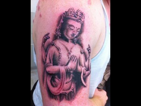 Religious  Buddha Black White