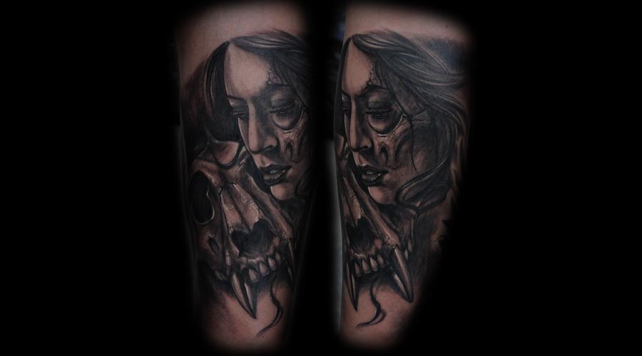 Lion Head Skull Black Grey