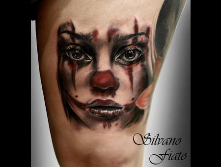 #Clown #Silvano Fiato #Girl #Bg Black White