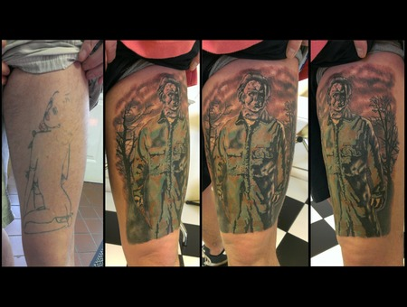 Thigh Coverup. Michael Myers  Halloween. Color