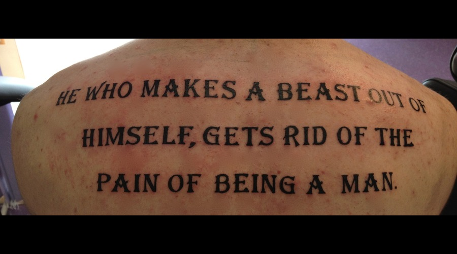 Saying Back Piece Quote. Black Grey Back