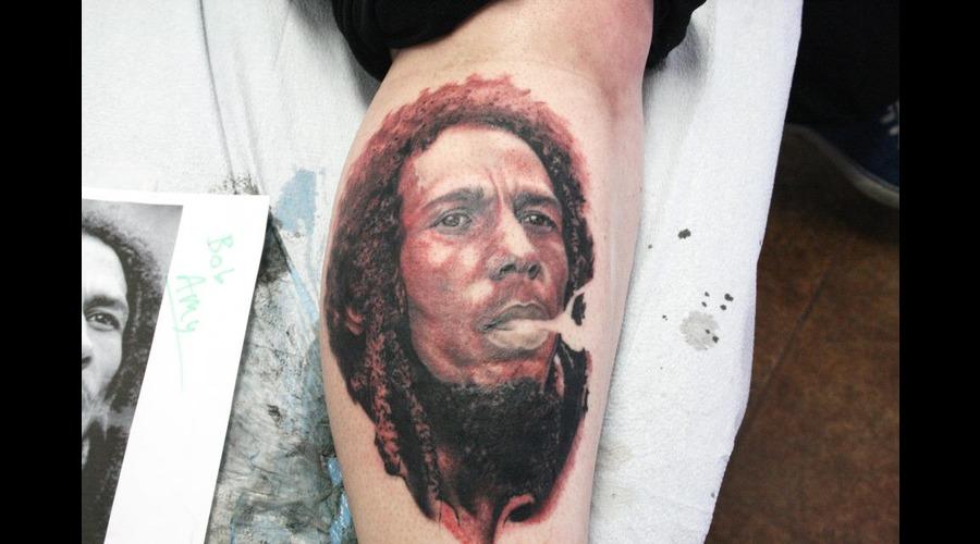 Bob Marley  Portrait  Rasta Black White